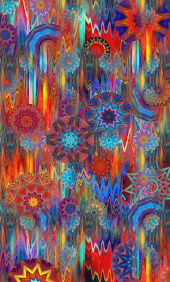 Artist Created UNIQUE Original Fabric Print Red Sunrise Cosmos Kaleidoscope