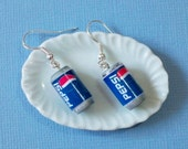 Pepsi earrings, Pepsi can drink - Dangle Earrings, miniature pepsi earrings