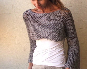 cropped sweater, gray shrug, women's clothing Last One