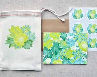 Succulent Blank Notecard Set in Reusable Muslin Bag