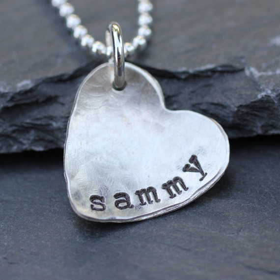 Hammered Heart Personalized Necklace in Sterling Silver
