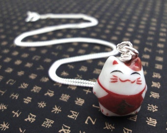 Lucky Cat Charm Necklace - Jin (Wealth)