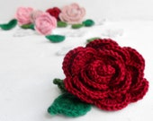 24 Crochet flowers - red, pink, white and green floral appliques, sew on applique, crochet roses and leaves, wedding flower, knitted flowers