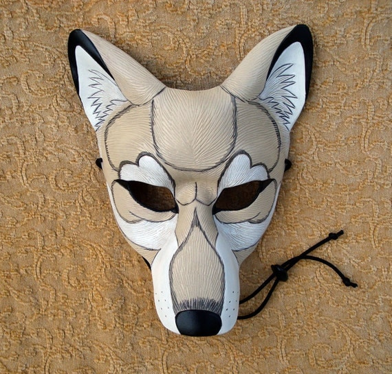 Creamy  White Timber Wolf Mask ...original hand made leather wolf mask