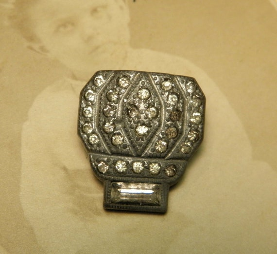 Vintage Dress Clip Rhinestone Pot Metal