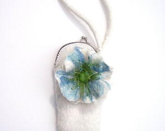 White felted mini purse- Christmas gift- soft- white and blue poppy flower- evening purse - hand made - wedding