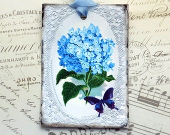 Vintage French Lace Gift Tags Blue Hydrangea