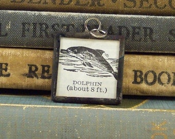 Dolphin Charm - Dictionary Pendant with Vintage Book Illustration - Dolphin Pendant - Nautical Book Charm - Soldered Jewelry