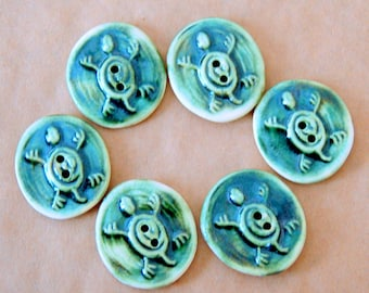 6 Handmade Stoneware Buttons - Ceramic Turtle Buttons in Moss Green