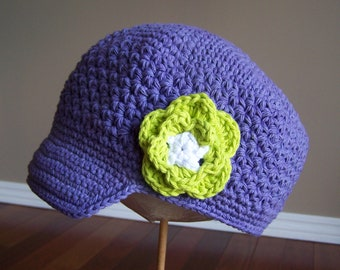 "Newsboy Hat Crocheted ""The Lia "" Hot Purple White Hot Green Visor Beanie Brimmed Hat Flower Accent"