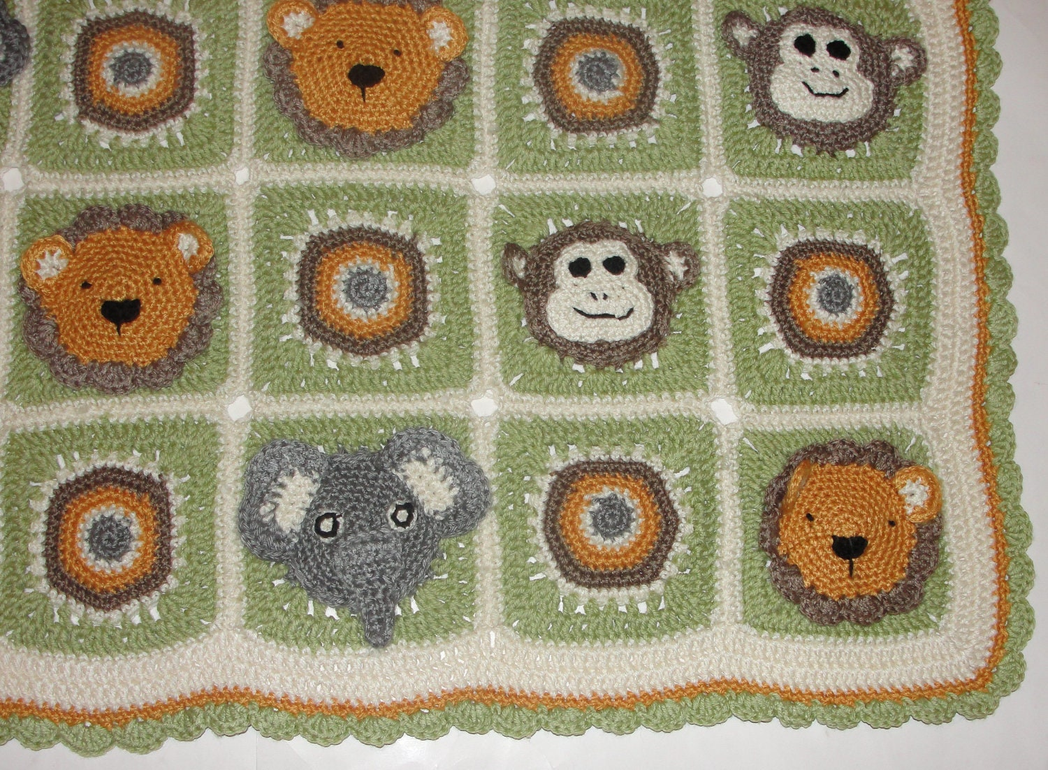 Animal Safari Crochet Afghan Blanket Monkey Elephant Lion