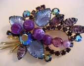Gorgeous Vintage WEISS Brooch, Purple & Blue on Goldtone