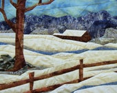 snow scene wall hanging fabric art quilted landscape