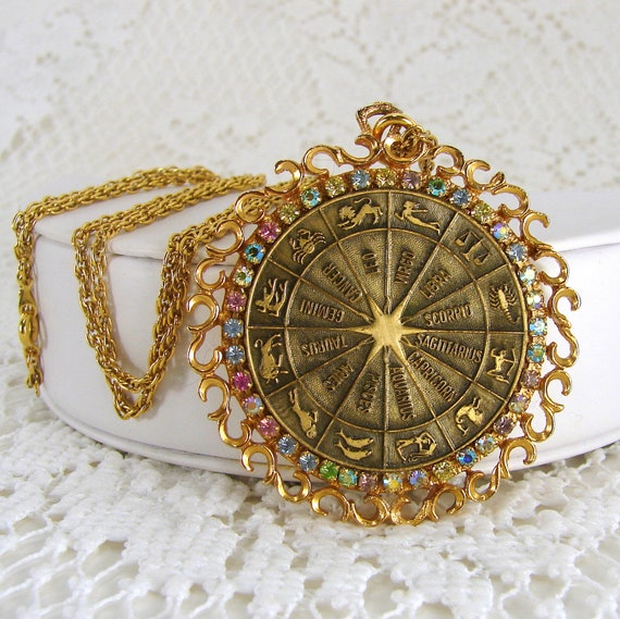 Zodiac Symbols Rhinestone Necklace 1970s Large Pendant 30 Inch Chain Astrological Birth Sun Signs