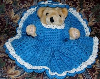 """Crochet Pattern-Lacy Dress Set for 12"""" Teddy"""
