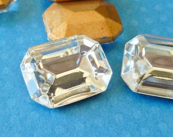 Two Vintage Glass Jewels - 20x15 Crystal Octagon Jewels (51-15B-2)