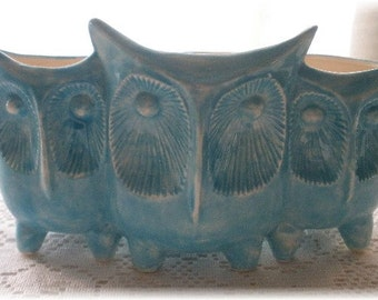 Ceramic Owl Planter Vintage Design Aqua Home Decor Owl Design Kitchen Container Desk Organizer Planter