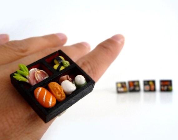 BENTO SUSHI adjustable ring - Finger Food jewelry