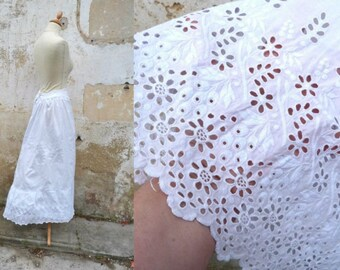 Vintage 1900 French victorian ton on ton embroidered lace white cotton petitcoat skirt size XS
