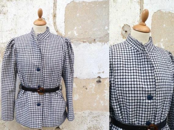 Vintage 1980 giacca soffiato maniche pied de poule dimensioni in blu navy/bianco S/M