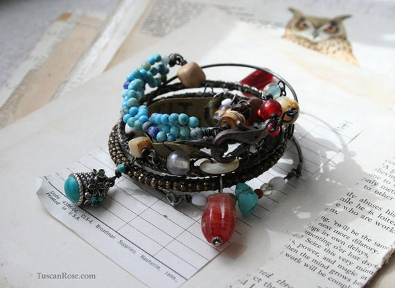 ON SALE - Gypsy Cowgirl - Numbers and Buttons wrap Bracelet and Bangle stack - Necklace