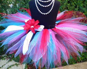 "Girls Birthday Tutu Skirt - Trixie - red, white, turquoise blue, hot pink, black - Custom SEWN 11"" Pixie Tutu - sizes Newborn up to 5T"
