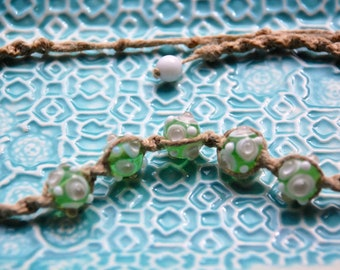 Spring Green & White Fused Glass Hemp Necklace
