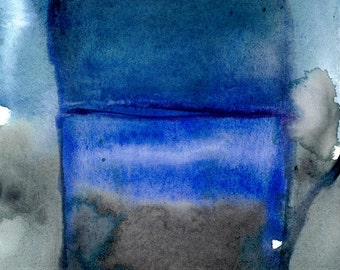 """Abstract Painting, Watercolor Art, gray, indigo, cobalt, blue, black, Original """"Abstraction Series 209"""" by Kathy Morton Stanion  EBSQ"""