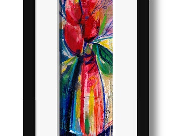 Floral Fantasy .. 9 ... Original Contemporary Modern mixed media flower art painting by Kathy Morton Stanion EBSQ
