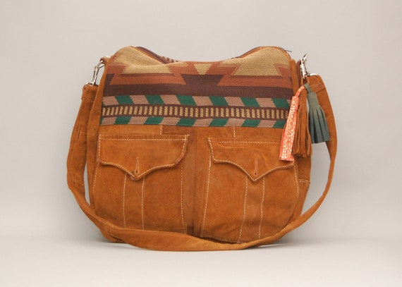 TUNDRA /// brown suede bag with navajo southwestern fabric