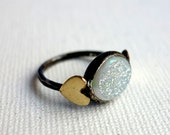Snow White with Hearts II - Oxidized White Drusy Ring with Brass Hearts