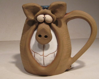 Happy Piggly Wiggly  Dark Pig Mug ... Oink .....      LEFTY                  e191
