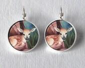 Baby Deer Earrings Fawn Earrings Circle Earrings Animal Art Silver