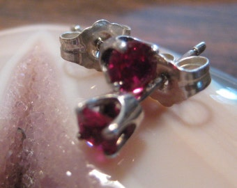 Lab Ruby post earrings..... Sterling Silver ...........                              e5250