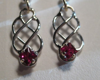 Red Sapphhire  Celtic Earrings ... Sterling Silver  and 14 kt Gold ....                  e398