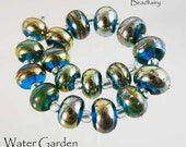 Water Garden , 18 handmade lampwork bead set  in aqua blue with shiny gold , glass beads by Beadfairy Lampwork