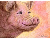 Smiley pig 8x10 print - the world smiles with you watercolor by Susan Alison