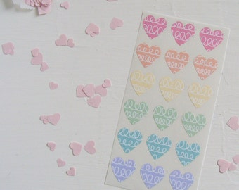 looped mini heart stickers in sorbet