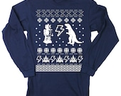 Mens Ugly Christmas Sweater Geeky Long Sleeve T Shirt (Navy) S M L XL XXL tshirt