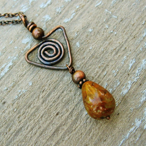 Green Opal Teardrop necklace with antiqued copper