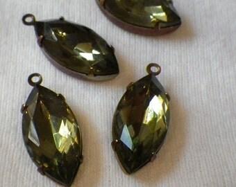 Black Diamond 18X9mm Glass Drops 4 Pcs