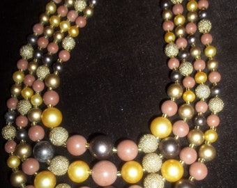 SHADES of EARTH 4-Strand Vintage Beaded Necklace