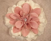 RESERVED for Fran   Shabby Chic Hair Clip Flower Pink and cream with Rhinestone Accent