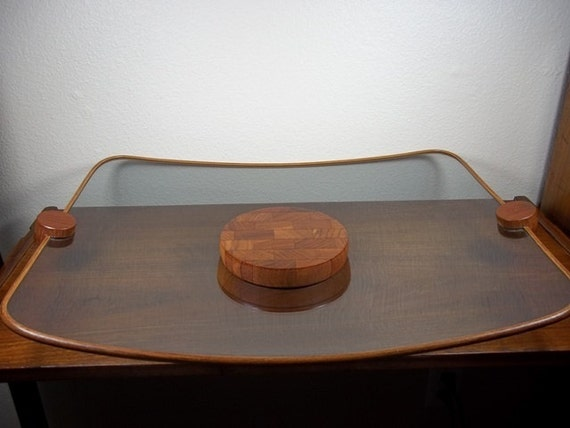 Ernest Sohn Siamese Teak and Glass Serving Tray