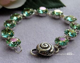 Aqua Champagne, Genuine Swarovski Crystal, Handmade Wire Wrapped Linked Bracelet, Swarovski Crystal, Sterling Silver Clasp, March Birthstone