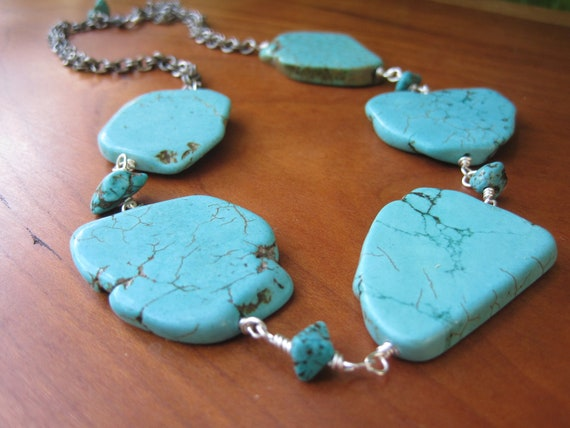 Turquoise Statement Necklace - Slab - Silver Chain - Robin's Egg Blue - Sky - Large Stones - Gemstone - Funky - Fall Fashion
