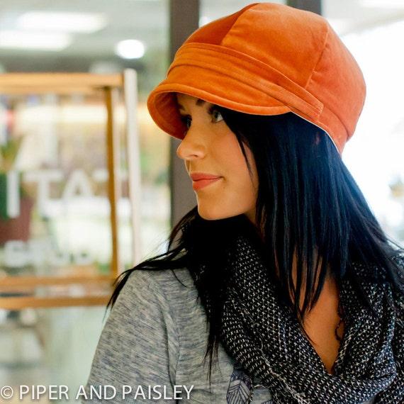 Gillian Hat- Womens Newsboy Cap in Rustic Orange- size Small