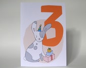 3rd Birthday - Bunny - Recycled Greeting Card