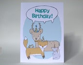 Happy Birthday - Blue - Animal Card