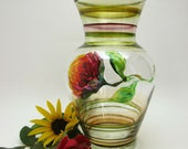 Hand Painted Glass Vase- Colorful Flower Blossom- Original Floral- Home Decor